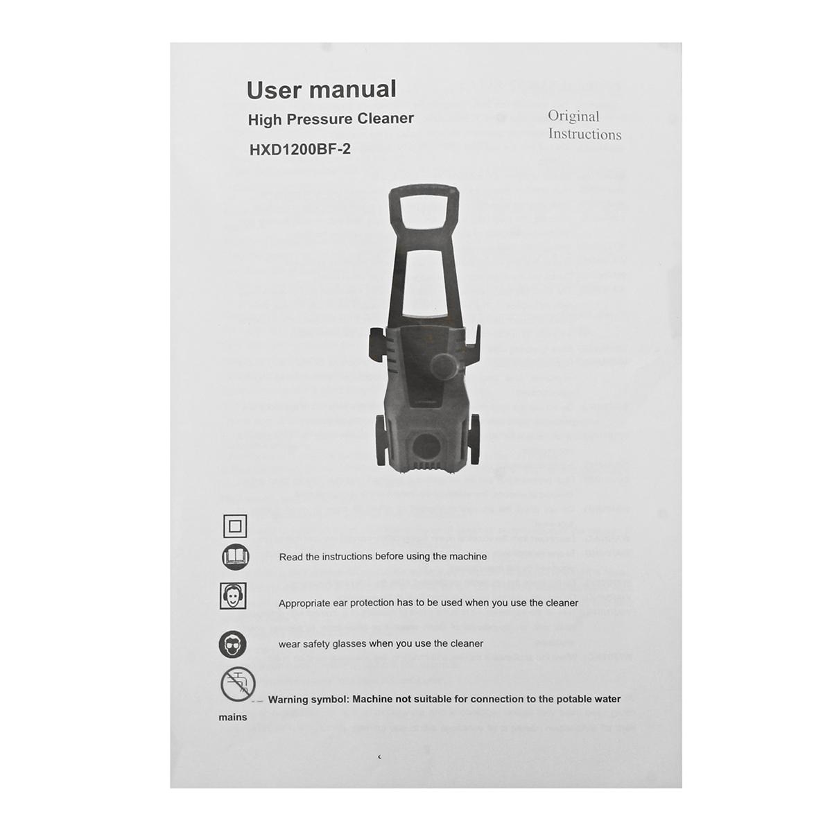 1400W Auto High Pressure Car Washer Spray Gun Detergent Bottle Turbo Water Hose Washing Machine