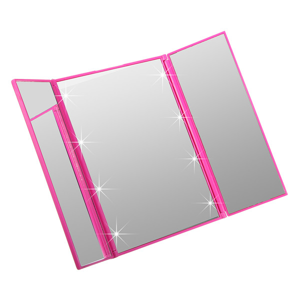Tri-Fold Mirrors LED Lighted Makeup Wide View Portable Travel Pocket Compact Household