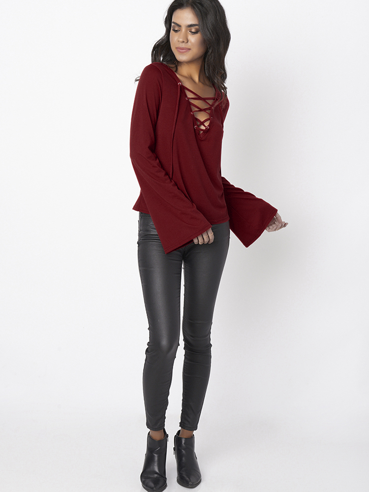 Sexy Women Long Bell Sleeve Deep V-neck Pure Color Blouses