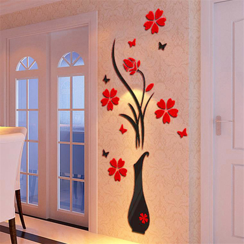 Creative Vase Acrylic 3D Stereo Wall Sticker Hallway Sofa Living Room Wall Decorative Mural