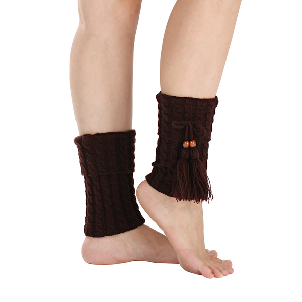 Women Twist Knitted Knee Short Boot Socks Leg Warmer High Boot Socks Flanging Crochet