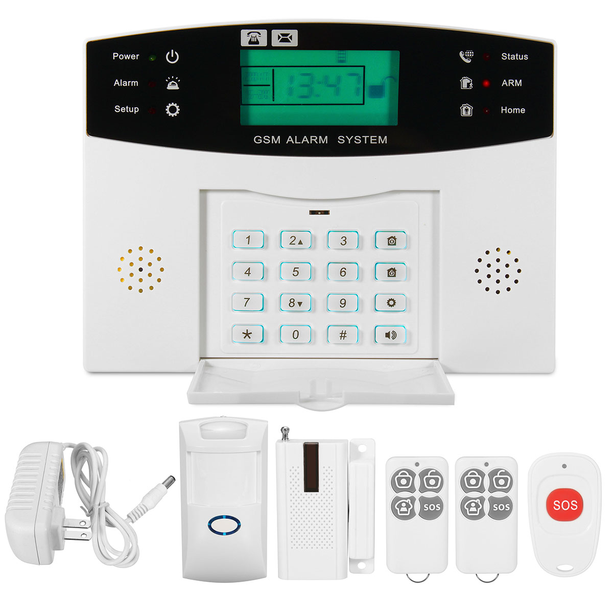 LCD Security Wireless GSM Auto Dial Home House Burglar Intruder Fire Alarm System