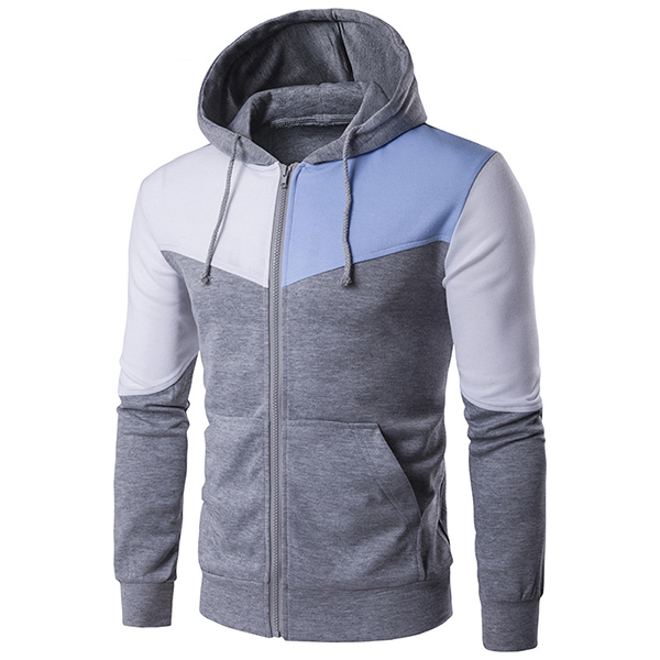 Fashion Stitching Hit Color Sports Hooded Tops