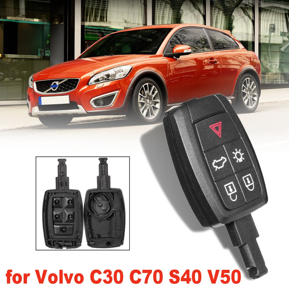 5 Button Remote Car Key Case/Bag Fob Shell Replacement Keyless for Volvo C30 C70 S40 V50