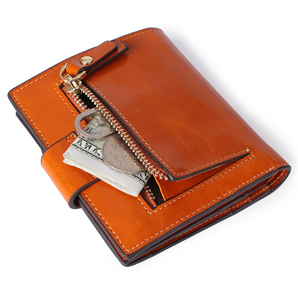 Women Genuine Leather RFID Blocking Secure Trifold Wallet 9 Card Slots Protective Short Wallet