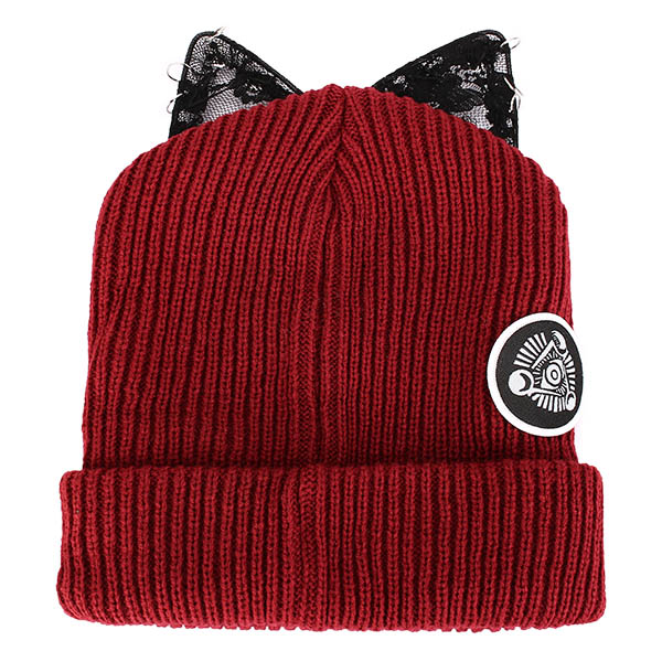 Ladies Female Knitted Beanies Lace Devil Horns Diamond Woolen Orechiette Novelty Hat