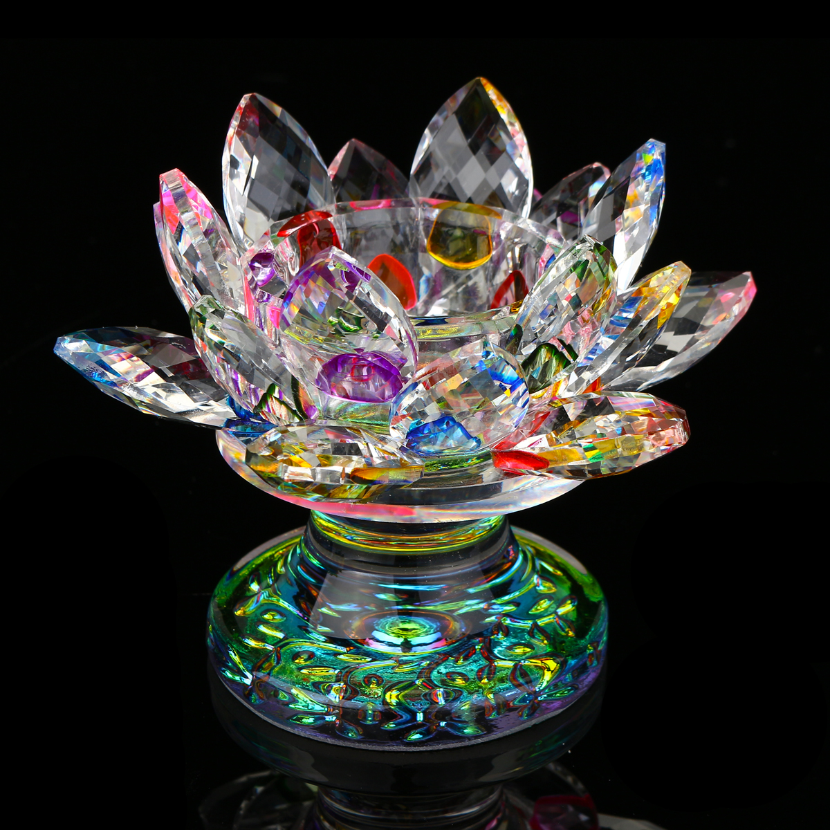 5 Colors Crystal Glass Lotus Flower Tea Light Candle Holder Buddhist Candlestick