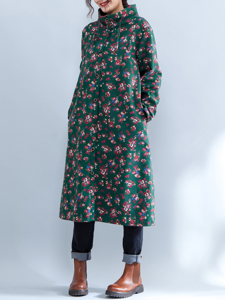 Ethnic Women Floral Printed Long Sleeve Velvet Button Long Coat