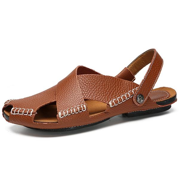 Men Soft Genuine Leather Beach Slippers Sandals Slip On Shoe