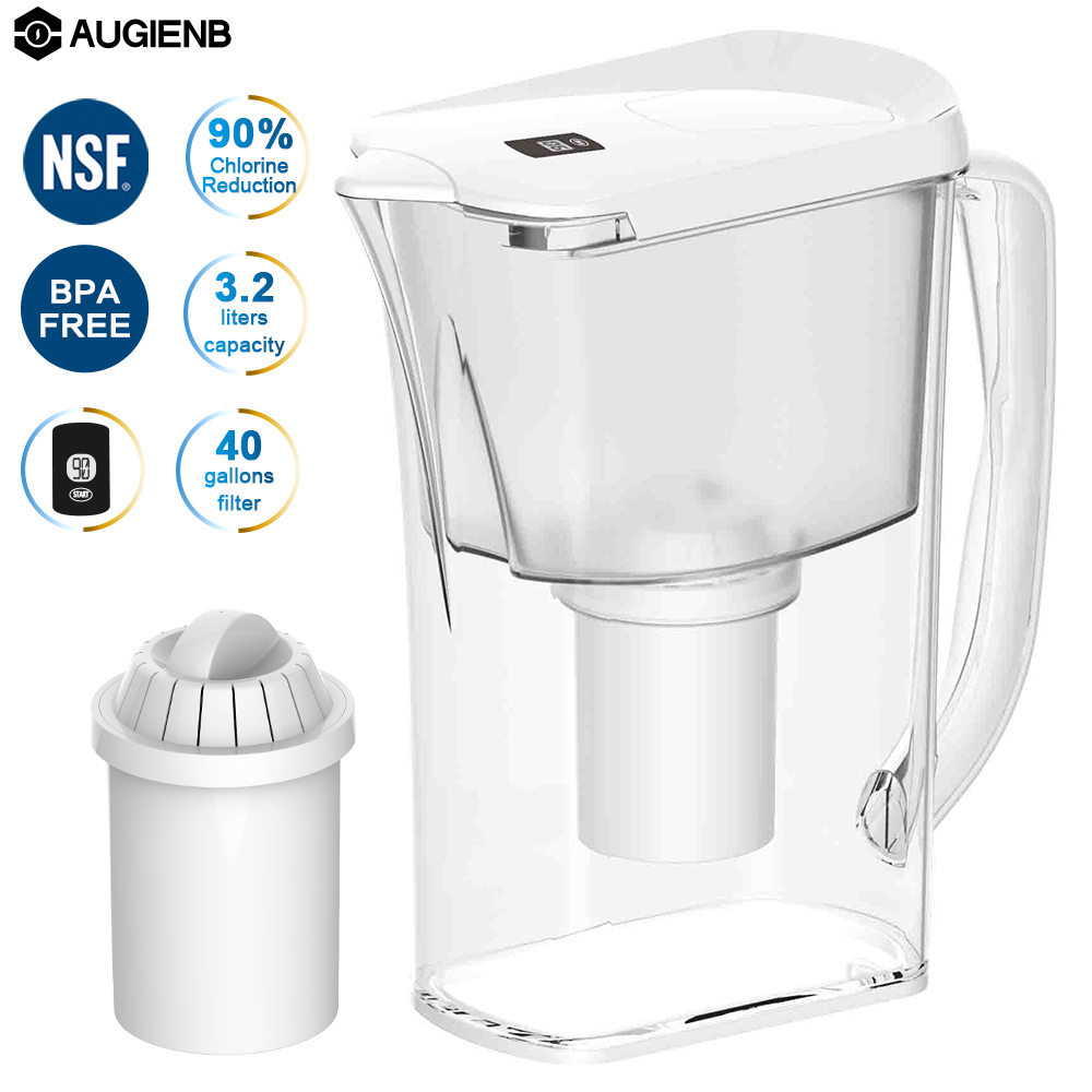 AUGIENB 10cups/3.2L Water Pitcher Jug Purifier Filter Remove Chlorine Odor Bottles
