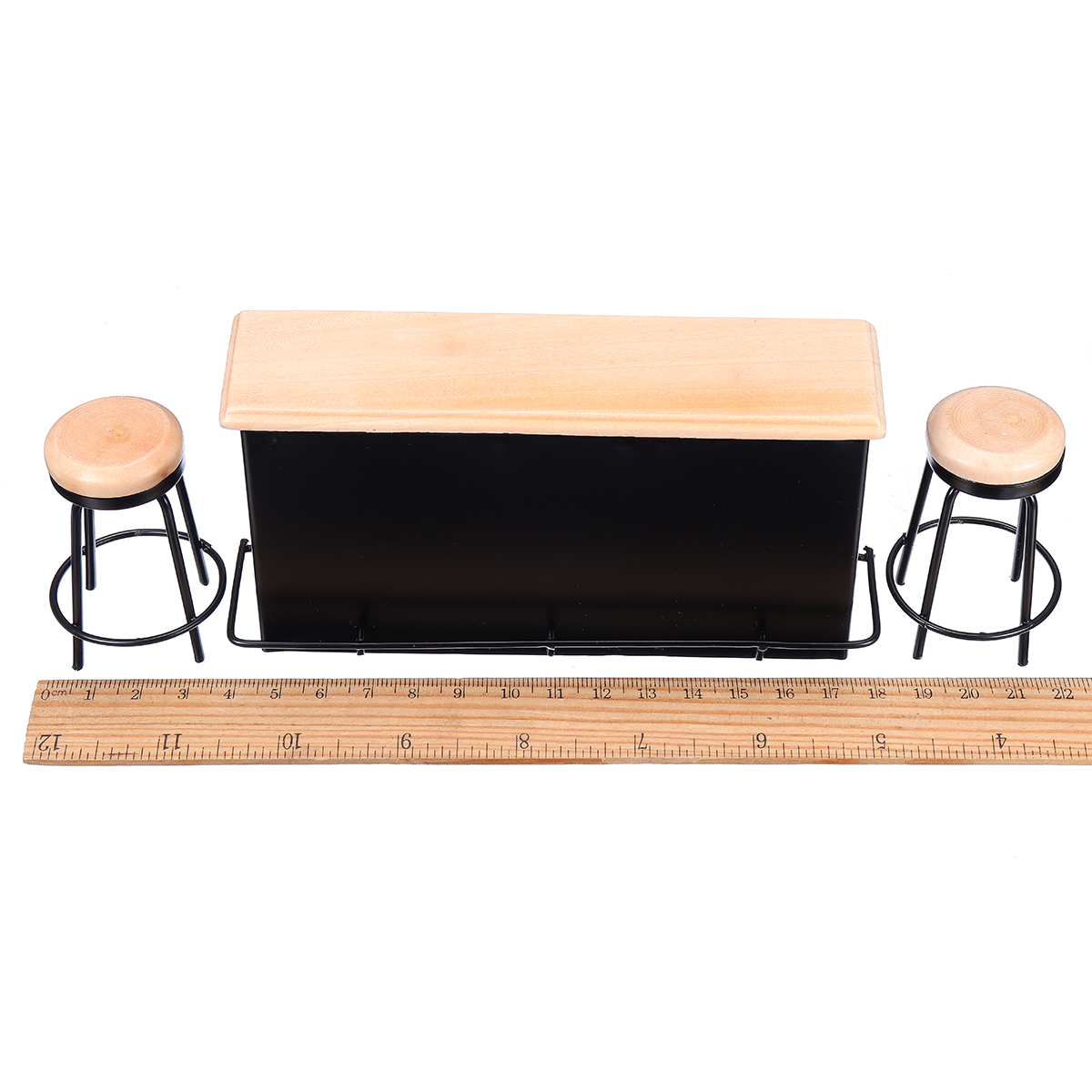 Doll house Miniature Taproom Bar Counter With Two Stools 1:12 Scale Model Toys