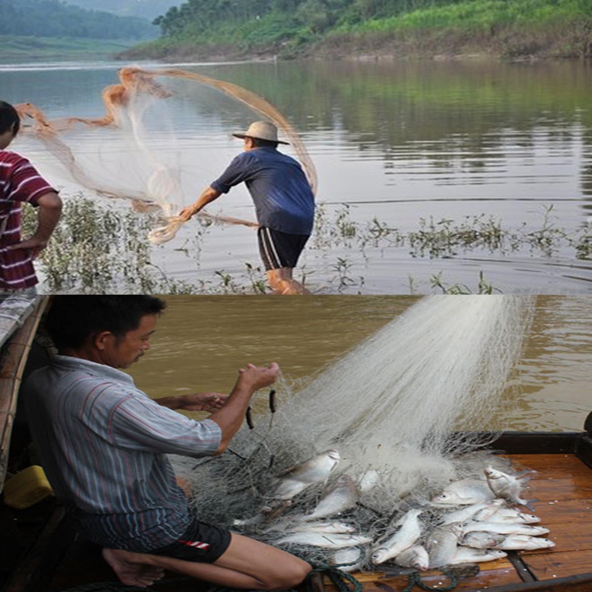 ZANLURE 10 Feet Cast Net Saltwater Clear Bait Cast Fishing Net