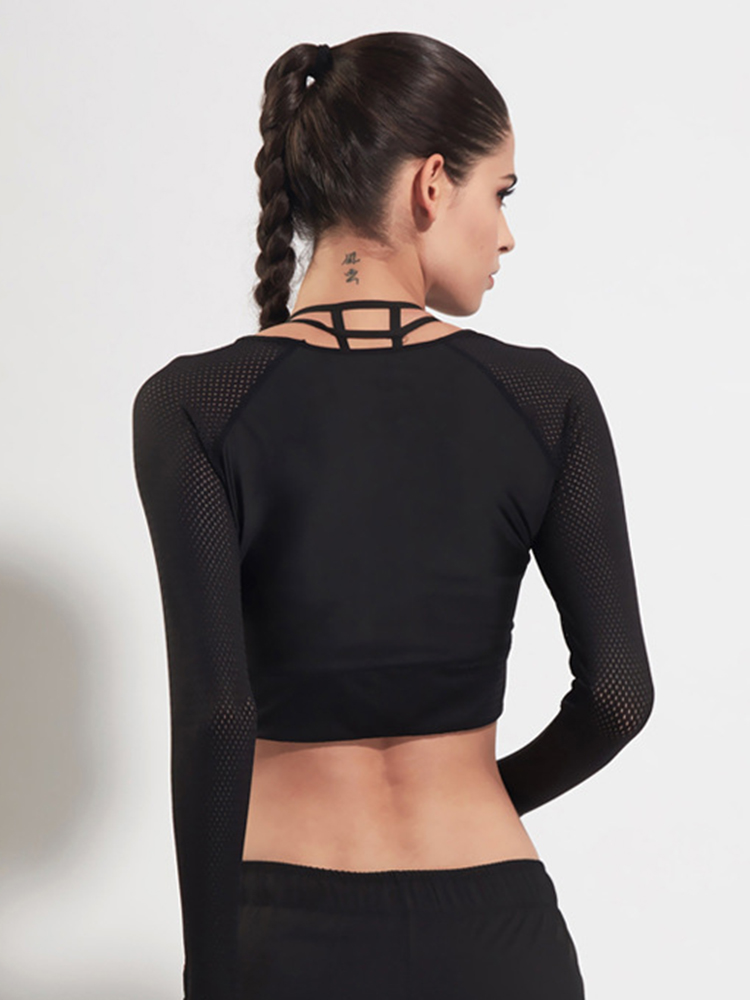 12fac37e11ccdc Women Quick Dry Breathable Long Sleeve Mesh Stitching Yoga Running Training Crop  Tops