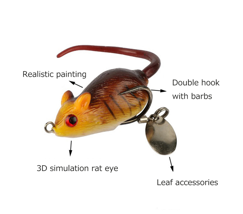 Y118 5cm 10.5g 3D Eyes Soft Mouse Bait Bells Sound Fishing Lure Frog Silicon Artificial Bait