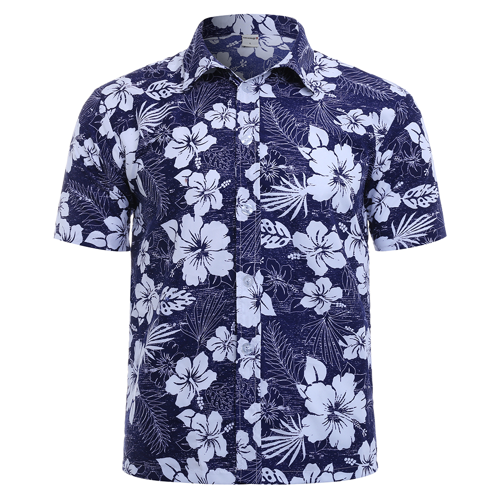 Mens Summer Hawaiian Style Beach Floral Printing Shirts