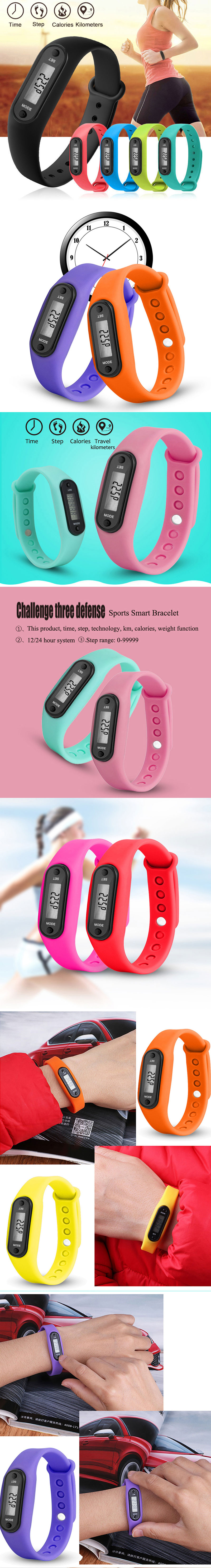 Digital Watch Pedometer Colorful Silicone Sport Watch