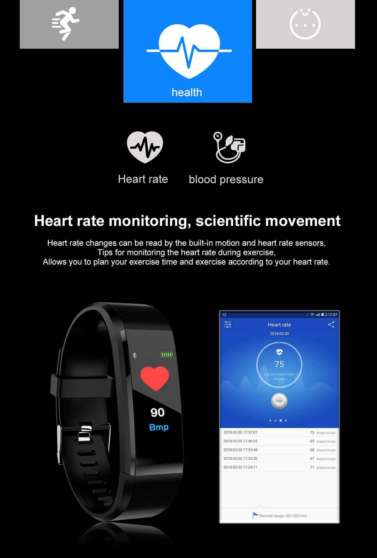 Bakeey Id115 Plus Blood Pressure Heart Rate Monitor