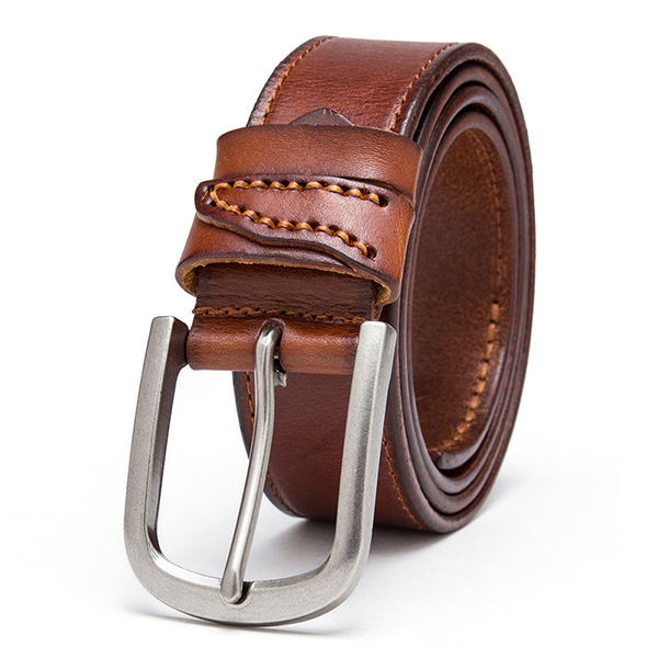120CM Mens Business Leather Belt Casual Alloy Pin Buckle Jeans Waistband