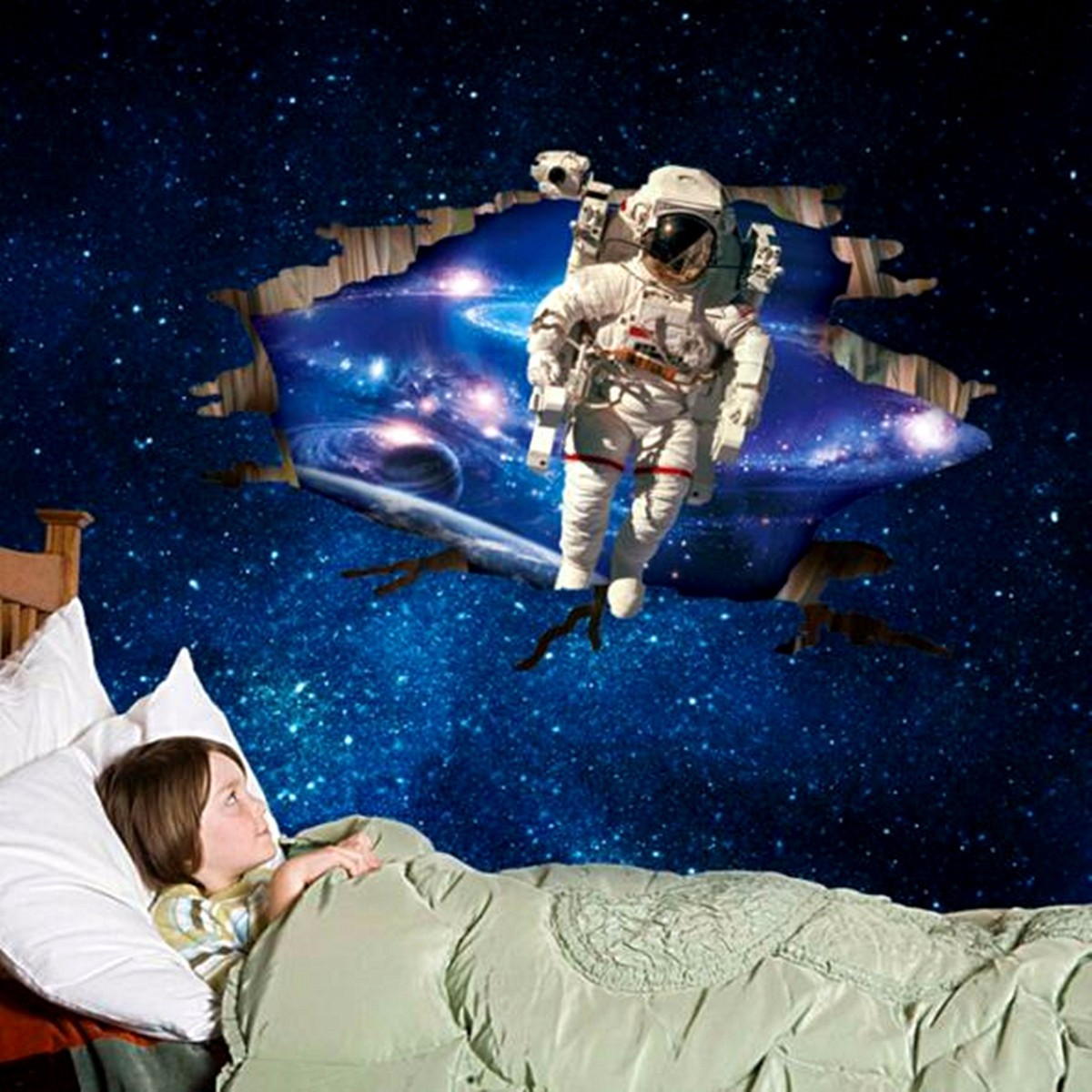 3D Wall Stickers Wallpaper Space Astronauts Decor Kids Room Decal Art Gifts
