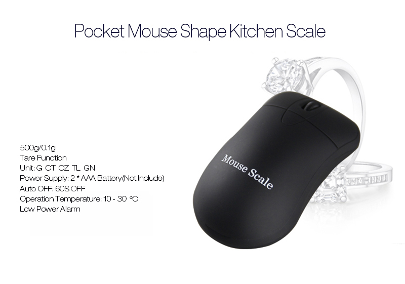 500g 0.1g Mouse Shape Multi-unit Conversion Digital Electronic Kitchen Scale Pocket Jewelry Weight