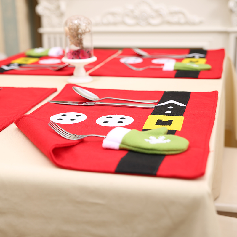 Christmas Party Home Decoration Elk Glove Table Mats Ornament Toys For Kids Children Gift