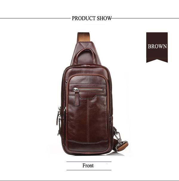 Men Genuine Leather High Quality Chest Bag Shoulder Bag Fashion Vintage Crossbody Bag