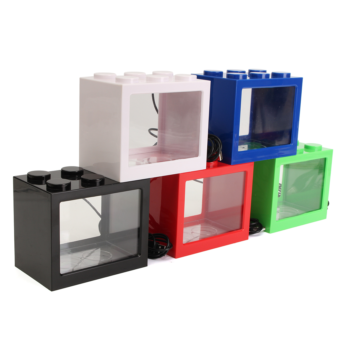 Mini USB LED Light Clear Fish Tank Mini Aquarium Box Bettas Office Desktop Decor