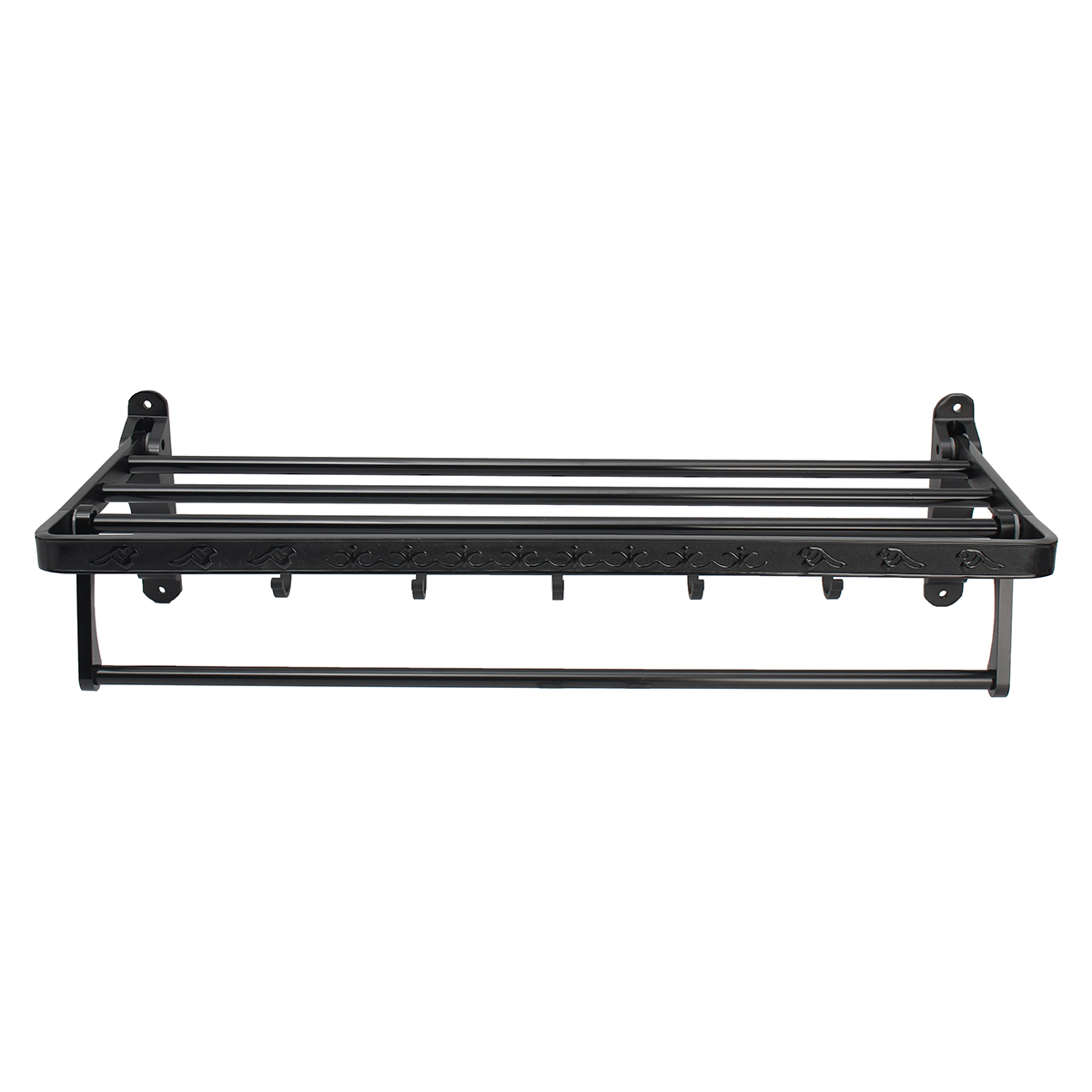 Black Wall Mounted Shelf Foldable Aluminum Washcloth Rack Towel Bar Hooks