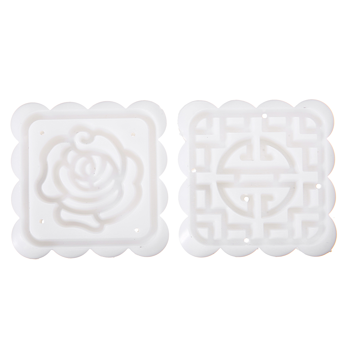 Moon Cake Mooncake Decoration Mold Mould Flowers Square 4 Stamps Pastry DIY Baking Mold