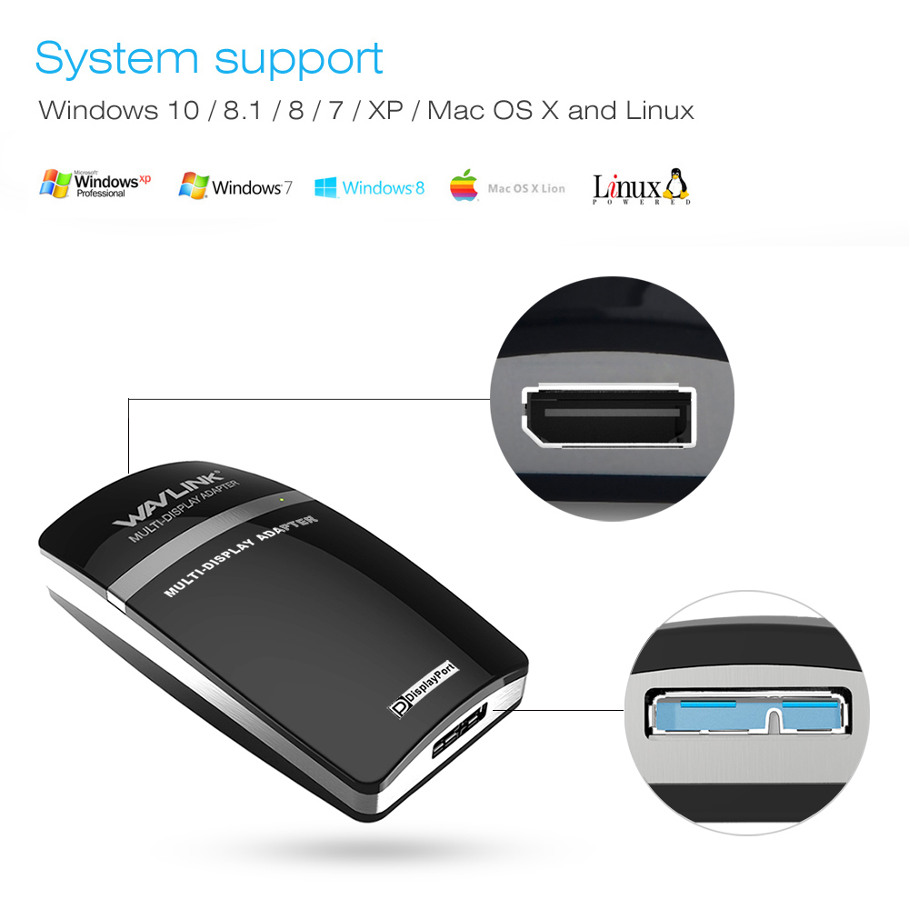 Wavlink USB 3.0 to 2K Display Port Video Graphic Adapter External Video Card for Multiple Monitors