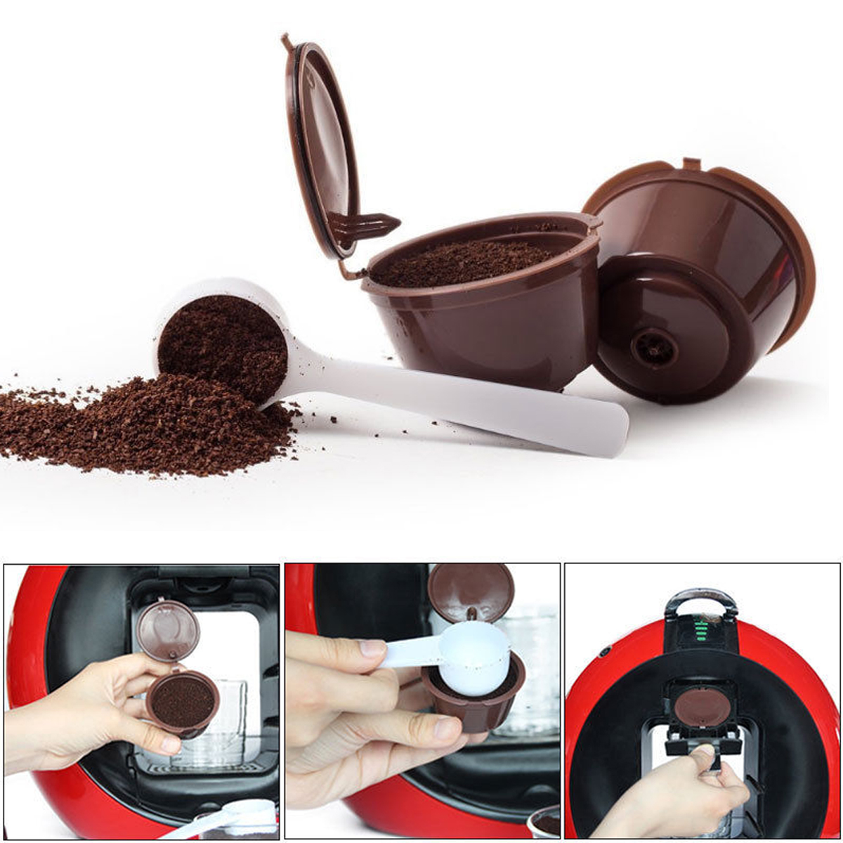 2pcs Coffee Machine Capsules Dolce Gusto Rechargeable Refillable Reusable Coffee Emohome