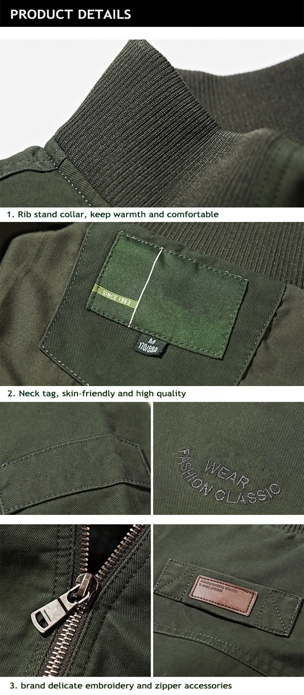 Mens Stand Collar Outdoor Military Amry Green Jacket Casual Solid Color Coat