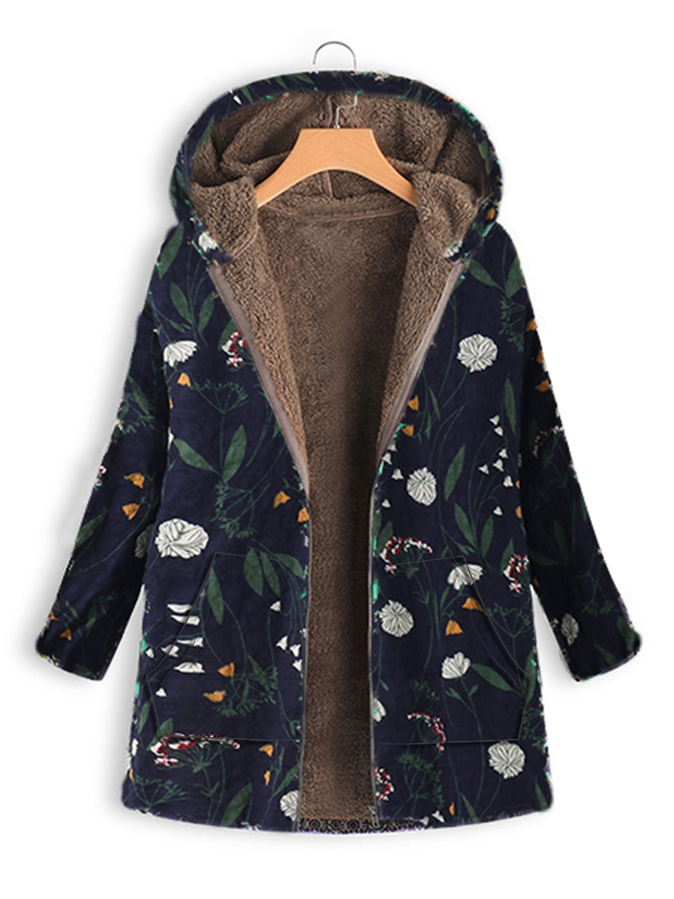 Plus Size Women Floral Print Long Sleeve Hooded Coats