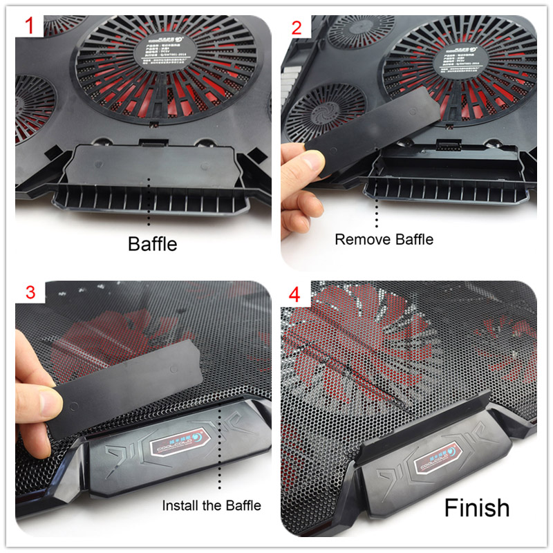 Notebook Cooling Fan Laptop Cooler Pad Air-cooled 5 LED Fans 2 USB Ports For 12-17 inch Laptop