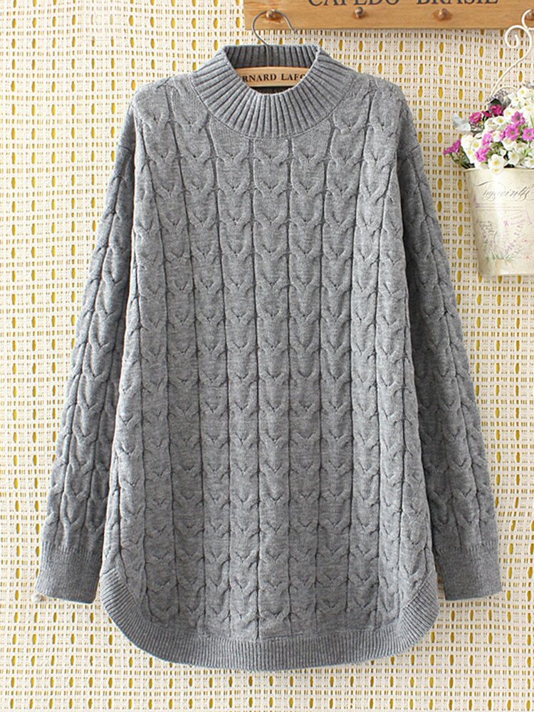Casual Women Solid Long Sleeve Knit Sweaters
