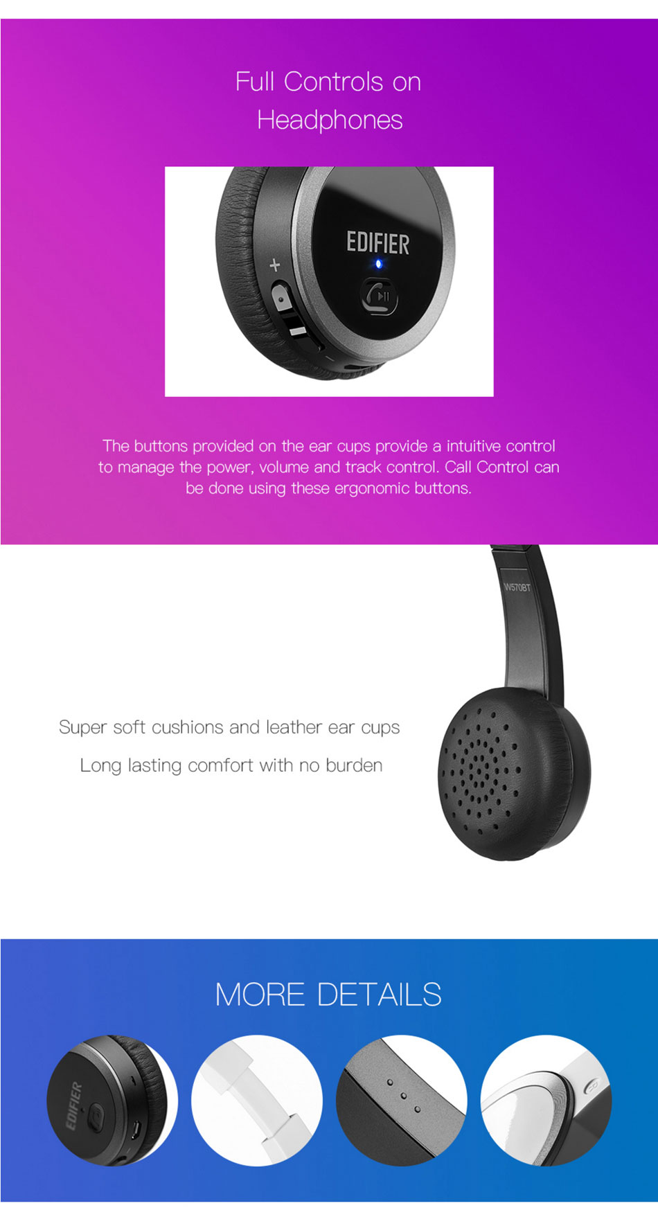 EDIFIER W570BT Wireless bluetooth Noise Canceling On-Ear HIFi bluetooth 4.0 Headset With Microphone