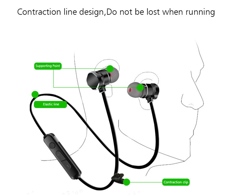 X3 Sport Magnetic APT-X bluetooth Earphone Headphone With Mic Heavy Bass Noise Cancelling Waterproof