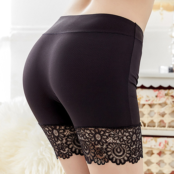 Women Comfort Stretchy High Rise Underwear Lace Pure Color Breathable Safe Panties