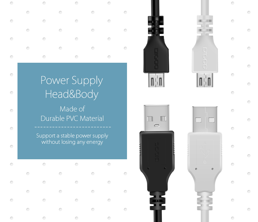 Digoo DG-BB-13MW 9.99ft 3m Long Micro USB Durable Charging Power Cable Line for IP Camera Device etc