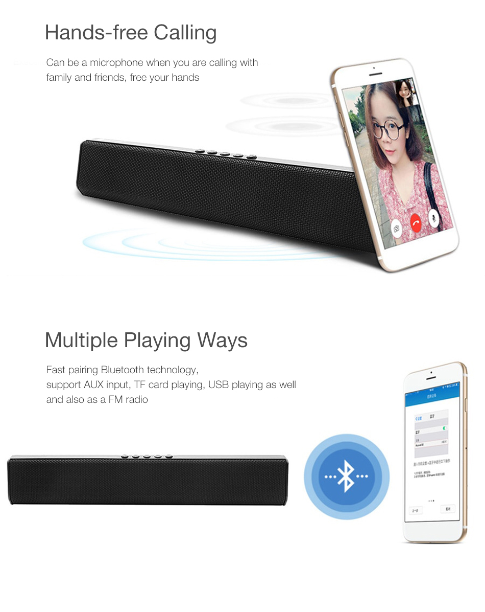 Smart Wireless USB Rechargeable bluetooth Long Desktop High Quality Sound FM Radio Speaker Support TF Card
