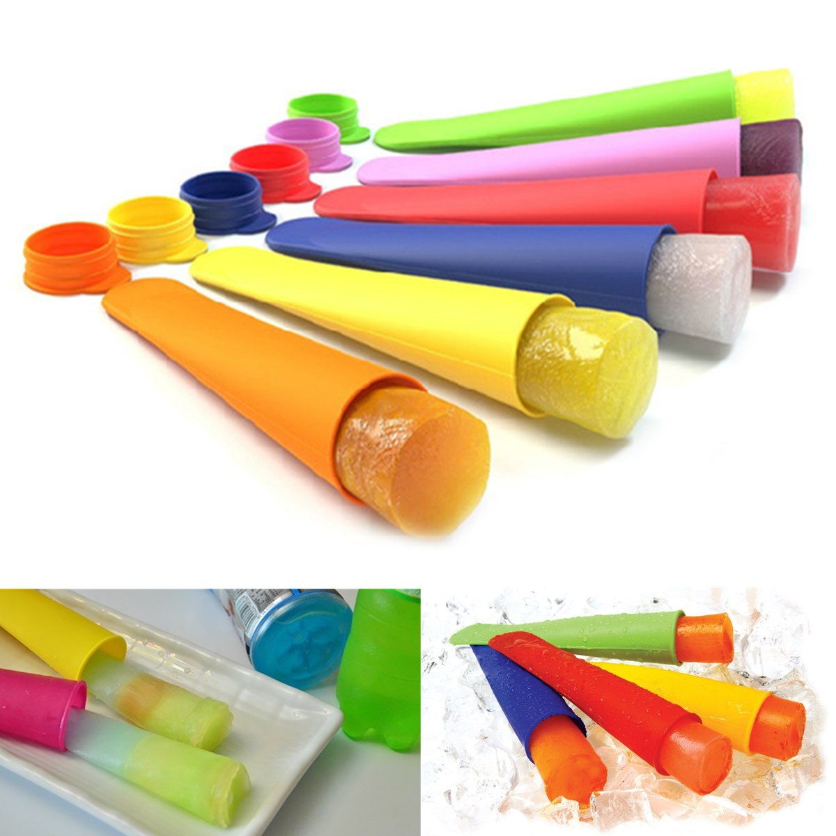 DIY Silicone Ice Pole Makers Frozen Popsicle Lolly Pop Mould Push Up Ice Cream Mold Assorted Colors