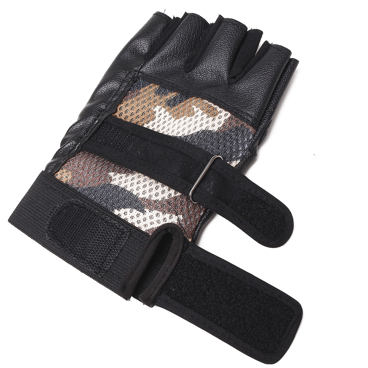 Unisex Mesh Artificial Leather Cycling Outdoor Gloves Gym Fitness Wrist Support Wraps Bike Mittens