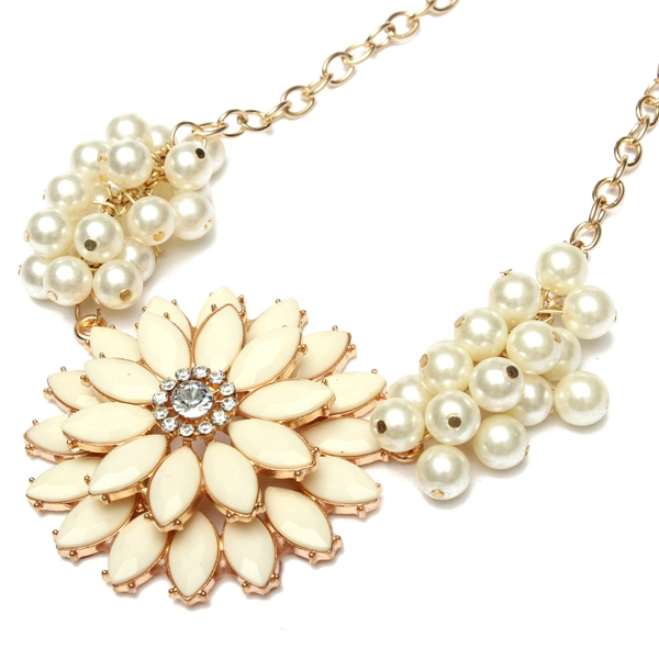 European Style Bauhinia Pearl Chain Flower Statement Necklace