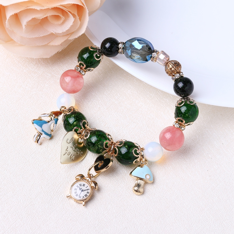 Bohemia Crystal Glass Beaded Bracelets Heart Clock Charm
