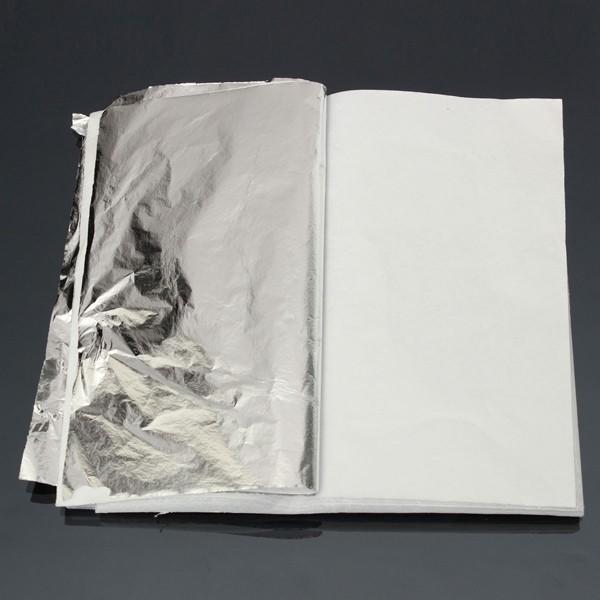 100 Leaves Silver Leaf Sheets For Gilding Decoration Art Work Craft 14 x 14cm
