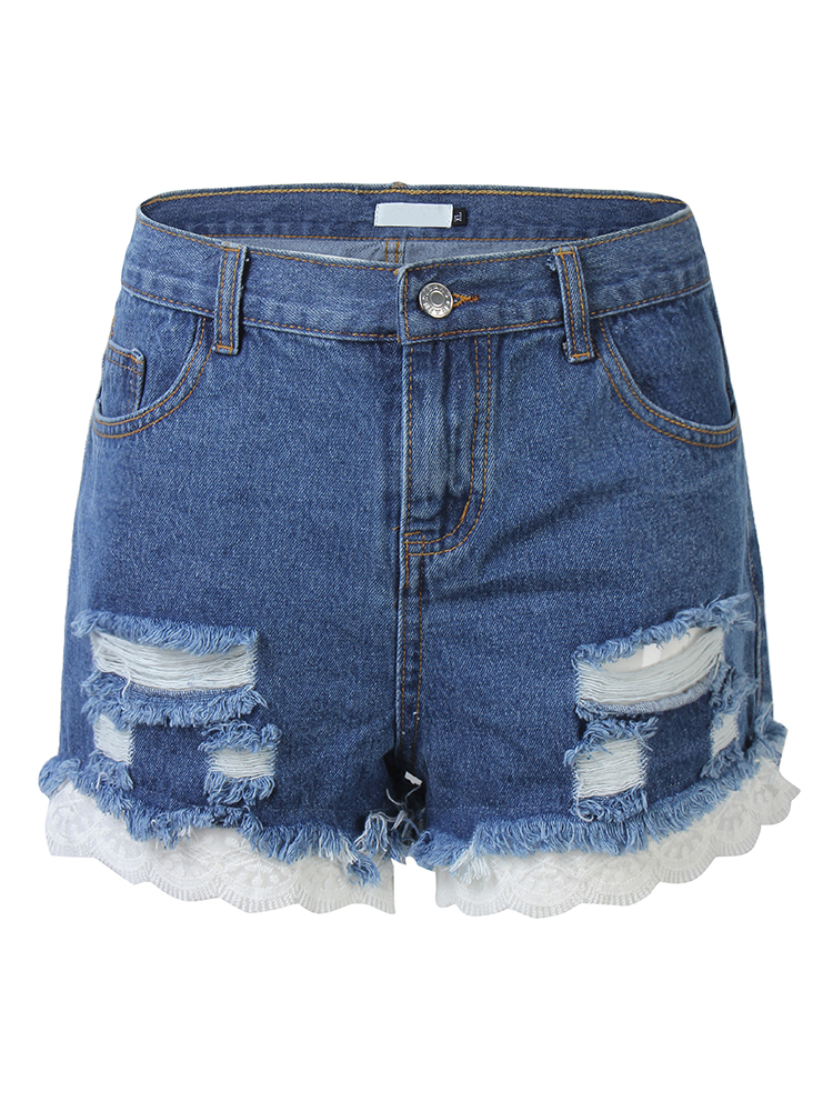Dark Blue Vintage Ripped Hole Lace Patchwork Denim Shorts