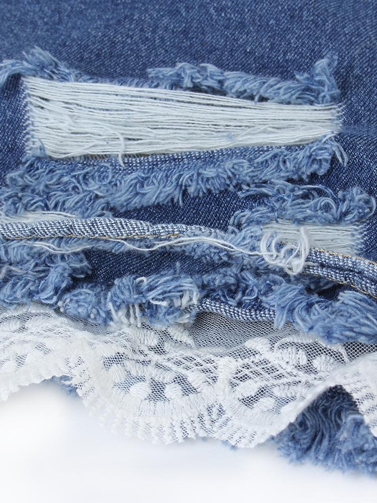Dark Blue Vintage Ripped Hole Lace Patchwork Denim Shorts