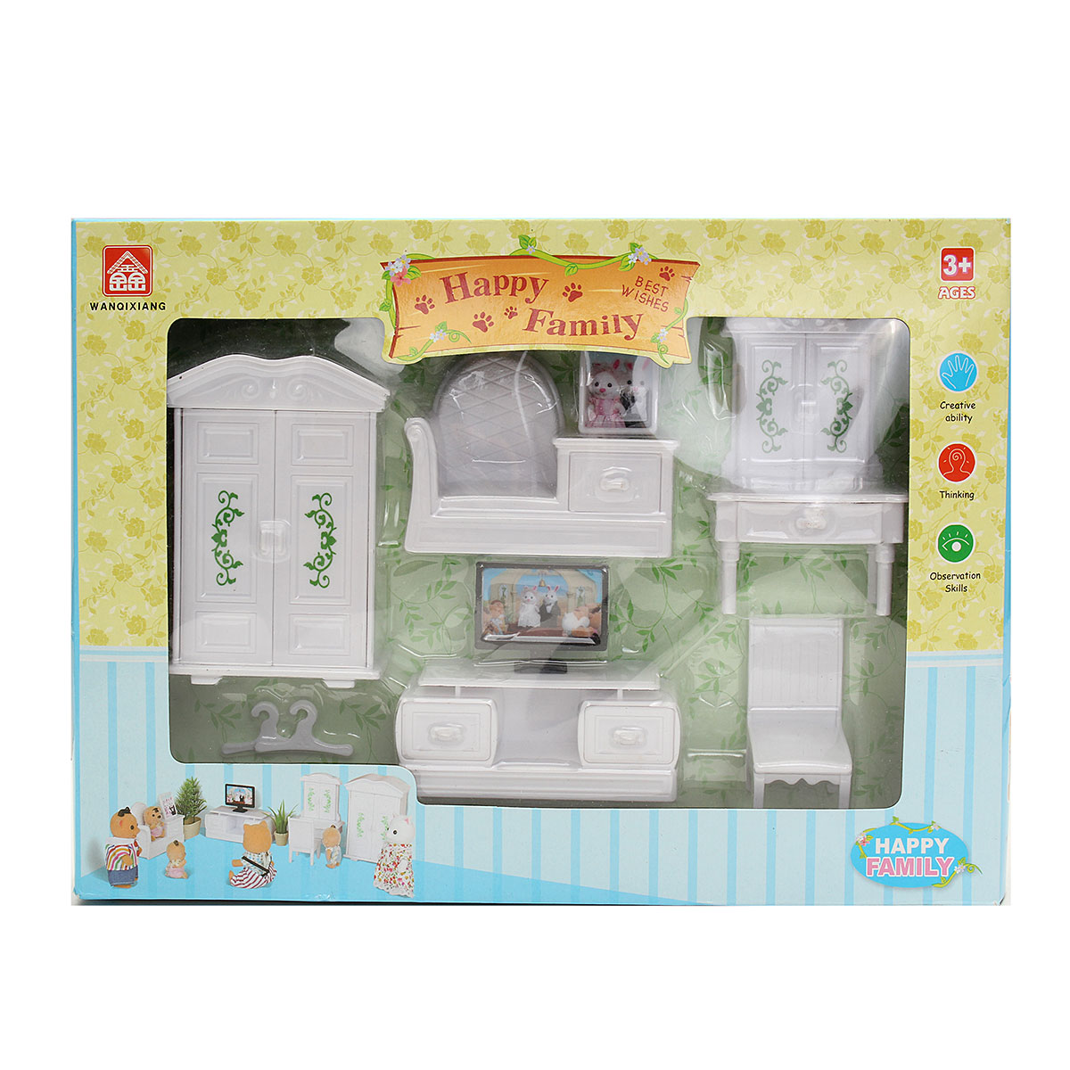 Living Bedroom Dining Table Dollhouse Miniatures Furniture Set