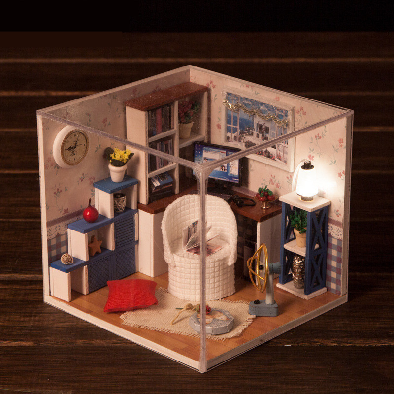 iiecreate M-003 Warm Time DIY Wood Dollhouse Miniature With LED Furniture Cover Doll House