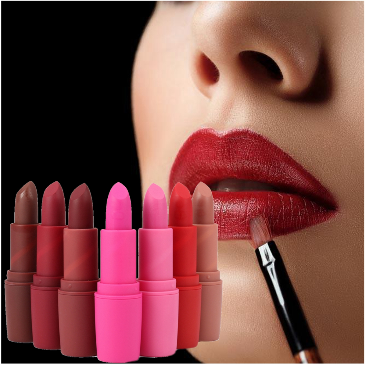 MISS ROSE Matte Dusty Rose Bullet Lipstick Deep Red Lip Sticks Waterproof 7 Colors